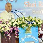 The President, Shri Ram Nath Kovind addressing at the Centenary Celebration of Rashtriya Sanskrit Sansthan, at Puri, in Odisha on March 18, 2018.